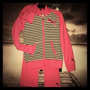 Puma girls pink track suit outfit with stripes